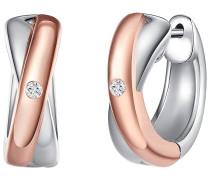 Ohrstecker Sterling Silber rosevergoldet / rhodiniert Diamant