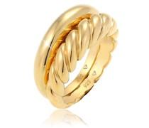 Ring 2er Set Twisted Gedreht Bandring Basic 925 Silber