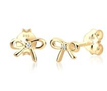 Ohrringe Schleife Klassisch Diamant (0,01ct.) 585 Gelbgold