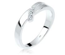 Ring Verlobung Trio Diamant (0.04 ct.) 925 Silber