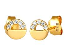 Ohrringe Stecker Kreis Rund Diamanten (0.05 ct)585 Gelbgold