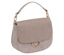 Henkeltasche mit Schalngen-Muster und Wildleder-Look in Creme Handtasche