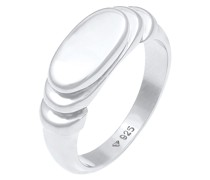 Ring Siegelring Poliert Oval Abgestuft 925 Silber