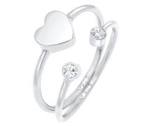 Ring Herz Swarovski® Kristall Stabelring Set 925 Silber