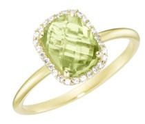 Ring mit Peridot und Zirkonia, Gold 375