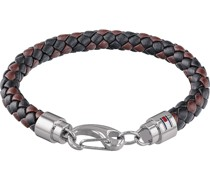 -Herrenarmband Leder/Edelstahl Tricolor 32001309