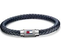 -Herrenarmband Edelstahl/Leder Blau 32003434