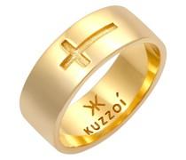 Ring Bandring Glanz Kreuz Glaube 925 Silber