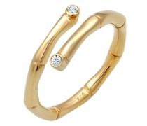 Ring Wickelring Bambus Swarovski® Kristalle 925 Silber