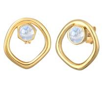 Ohrringe Stecker Mondstein Organic Kreis Design 925 Silber