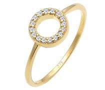 Ring Kreis Geo Diamant Verlobung 0.08 ct. 375 Gelbgold