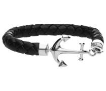 Armband Leder, schwarz mit Anker