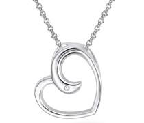 Halskette Herz Sterling Silber Diamant silber