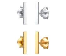 Ohrringe Stecker 2er Set Basic Geo Minimal Look 925 Silber