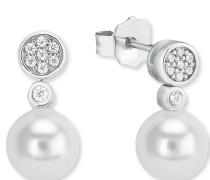 Ohrstecker für, 925er Sterling Silber rhodiniert weiß