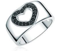 Ring Sterling Silber Zirkonia schwarzHerzform