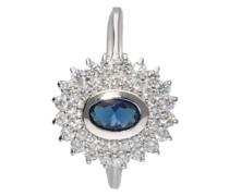 Ring mit Zirkonia und dunkelblauem Kristallstein, Silber 925