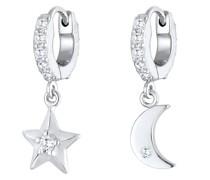 Ohrringe Creolen Ohrhänger Stern Mond 925 Silber