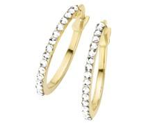Creolen mit weißen Swarovski Kristallsteinen, Gold 375