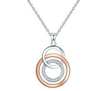Halskette Sterling Silber Zirkonia silber/roségold