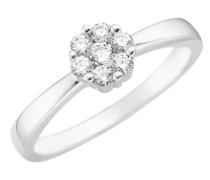Ring Blüte, Zirkonia Steine, Silber 925