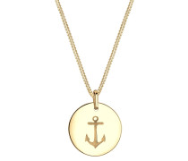 Halskette Anker Münze Maritim 925 Sterling Silber