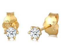 Ohrringe Elegant Klassisch Diamant (0.12 ct.) 585 Gelbgold