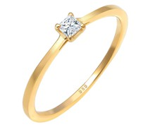 Ring Prinzessschliff Diamant (0.1 ct) 585 Gelbgold