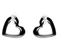 Herzförmige Diamant-Ohrringe aus Keramik