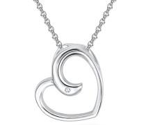 Kette mit Anhänger Herz Sterling Silber Diamant