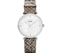 -Uhren Analog Quarz Grau Grau Leder 32005966