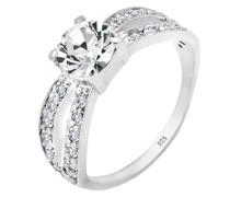 Ring Solitär Glamourös Kristall 925 Silber