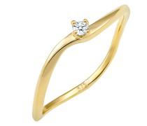 Ring Verlobung Welle Diamant (0.03 ct.) 375 Gelbgold