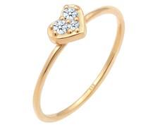Ring Herz Trio Diamant (0.075 ct.)Romantik 585 Gelbgold