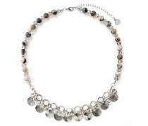 Halskette Messing Achat silber