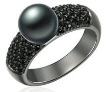 Ring Sterling Silber Zirkonia Süßwasser-Zuchtperle schwarz