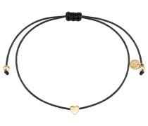 Armband Textil schwarz Sterling Silber gelbvergoldet
