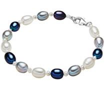 Armband Süßwasser-Zuchtperlen weiß / hellgrau /pfauenblau