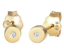 Ohrringe Stecker Geo Basic Diamant (0.01 ct.) 585 Gelbgold