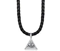 Halskette Kreuz Schlange Leder Oxidiert 925 Silber