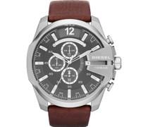-Uhren Rund Analog Quarz Braun Leder 32002660
