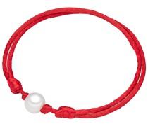 Armband Satin Süßwasser-Zuchtperle rot