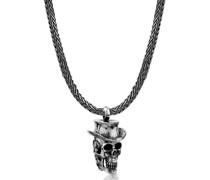 Halskette Männerkette Totenkopf Hut Anhänger 925 Silber