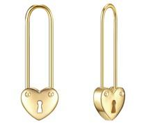Ohrhänger Sicherheitsnadel/Herz Sterling Silber gelbgold