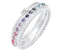 Ring Set Multi-Color Swarovski® Kristalle 925 Silber