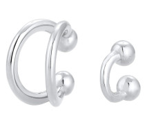 Ohrringe Earcuff Klemme Set Geo Ball Minimal 925 Silber
