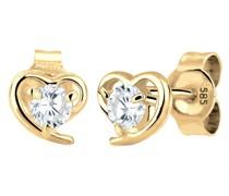 Ohrringe Herz Zirkonia Liebe Filigran 585 Gelbgold