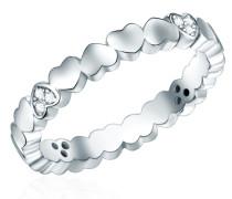 Ring Sterling Silber rhodiniert Zirkonia weiß