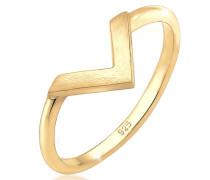 Ring Geo V-Form Basic Matt Minimal Trend 925 Silber
