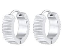 Ohrringe Creolen Rillen Struktur Basic 925 Silber